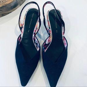 Zara Trafaluc Slingback Pointed Suede Shoes Sz. 39
